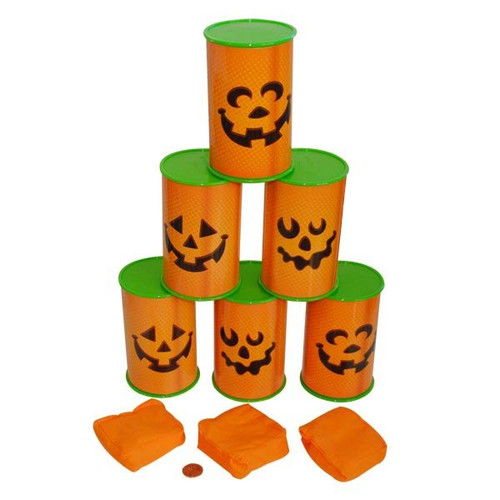 Plastic Jack-O'-Lantern Can Toss Game