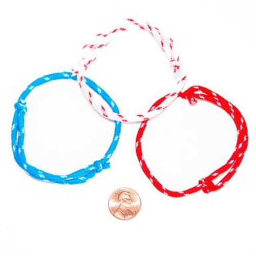 Patriotic Nylon Rope Bracelet (144 total bracelets in 2 bags) 6¢ each