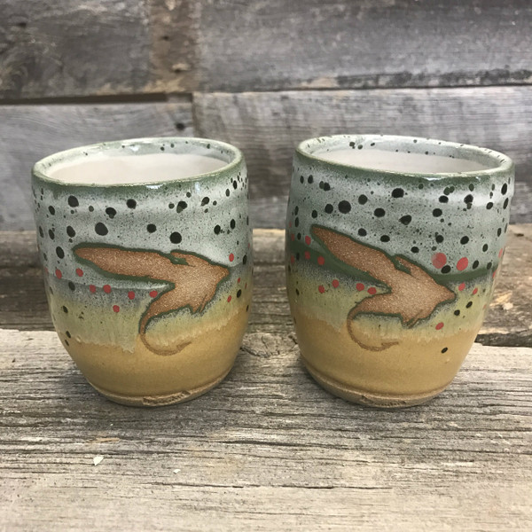 """Set of Whiskey """"Fly"""" Trout Cups"""
