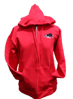 Red Full Zip Hoodie with Border Collie