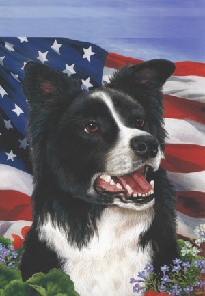 Patriotic Border Collie Garden Flag