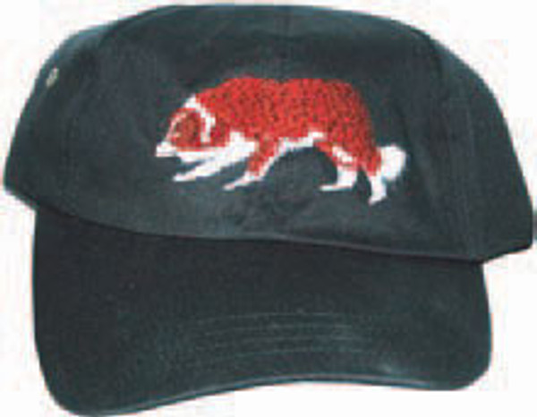 Low Profile Cap with Red and White Border Collie