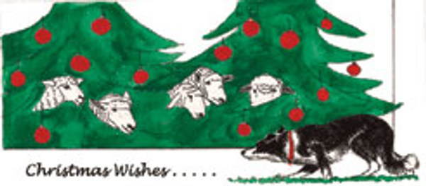 Sheep in Trees Christmas Card