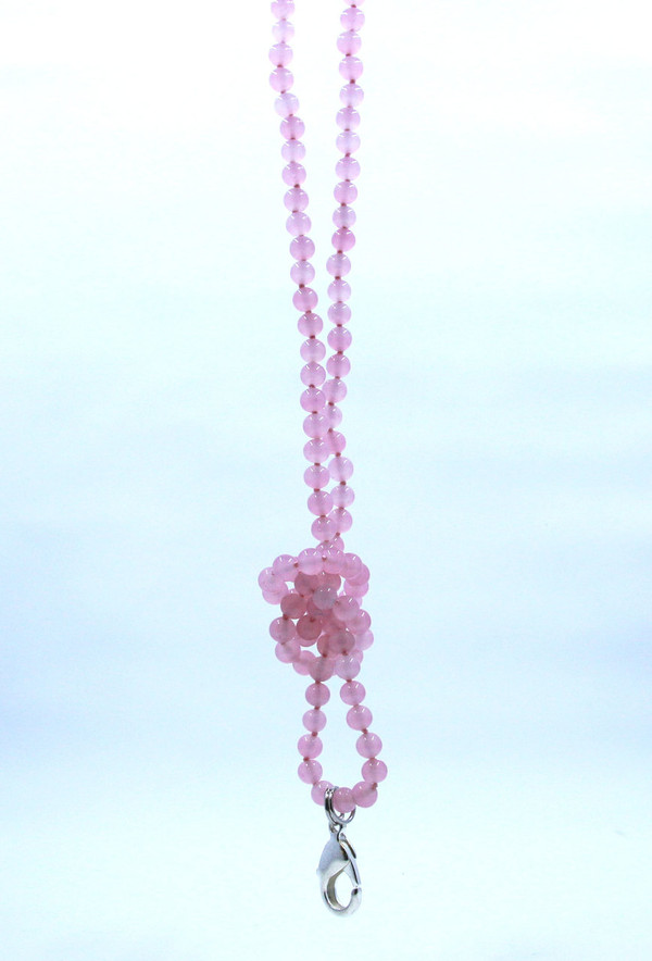 Pink Rose Quartz Beaded Lanyard
