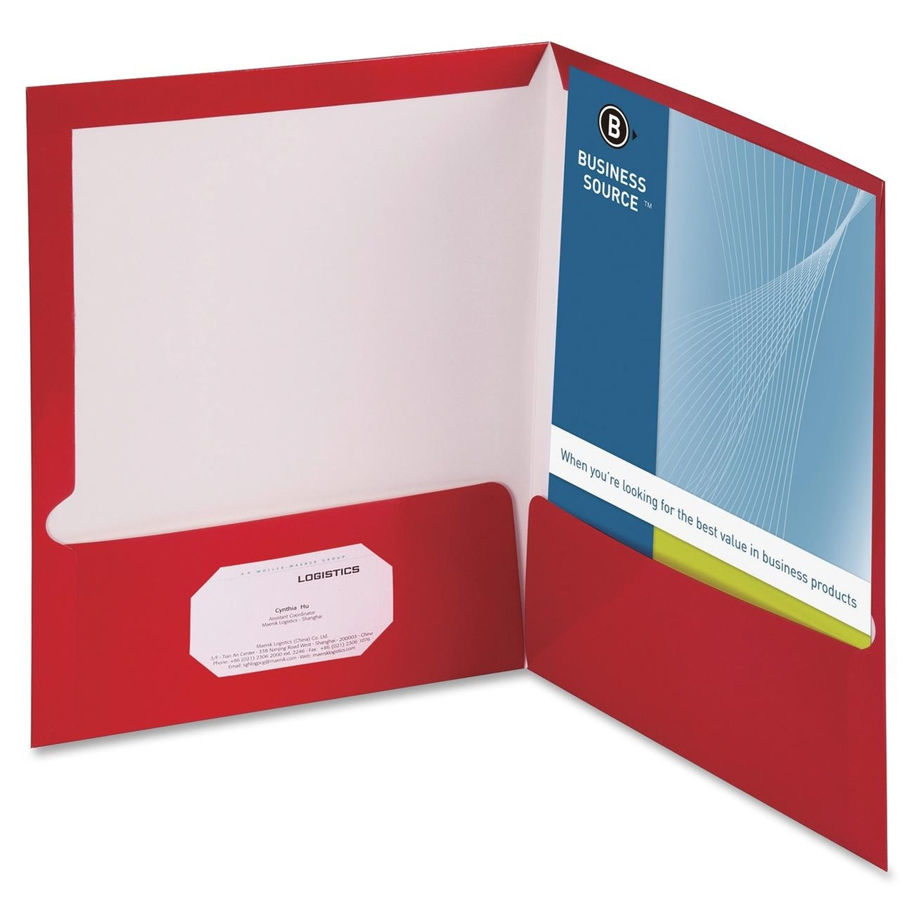 Business Source Two-Pocket Folders with Business Card Holder ...