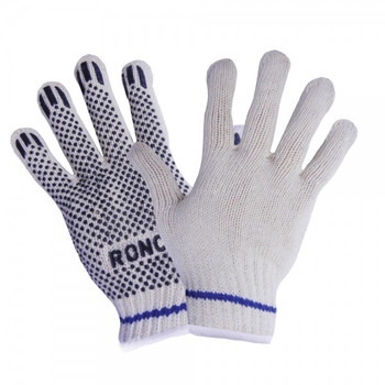 Ronco - 65-020-07 - Small Work Gloves Stringknit With 1 Side Pvc Dots  - 12 Pair/Pack