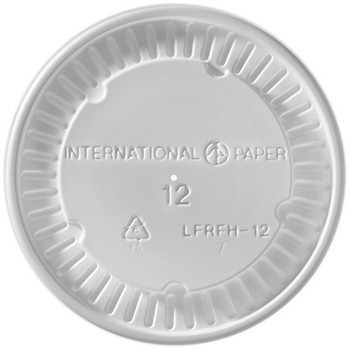 International Paper - LFRFH-12 - Flat White Vented Lid - 1000/cs