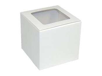 "EB - 4"" x 4"" x 4"" - White Cupcake Box with Window - 100/Pack"