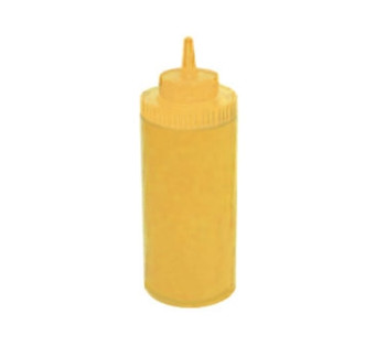 Winco - PSW-12Y - 12 Oz Wide Mouth Yellow Squeeze Bottle - 6/Pack