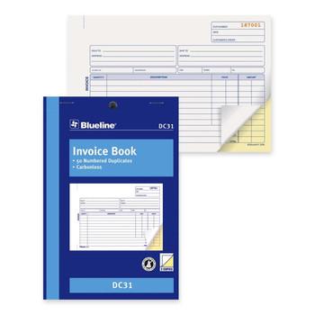 "Blueline - Invoice Book - 50 Sheet(s) - 2 Part - 5.38"" x 8"" Sheet Size - 1 Each"