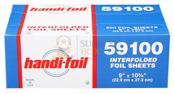 HFA - 59100 - 9 x 10.75 Interfold Aluminum Foil Sheets - 6 x 500 = 3000 Sheets / Case
