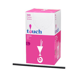 "Touch - 92-815 - 6"" Super Cocktail Straw Black - 9x500"