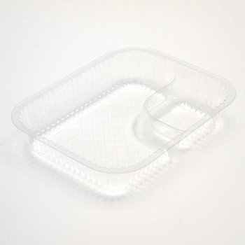 """Pactiv - YCI880680000 - 6"""" X 8"""" X 1 3/4"""", 2 Compartment Large Nacho Tray, Clear - 500/Case"""