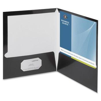 """Business Source Two-Pocket Folders with Business Card Holder - Letter - 8 1/2"""" Width x 11"""" Length Sheet Size - 100 Sheet Capacity - 2 Pockets - Black - 25 / Box"""