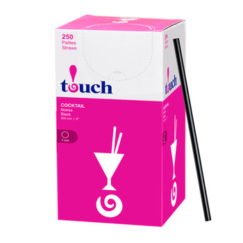"Touch - 92-875 - 8"" Jumbo Cocktail Straw Black - 9x250"