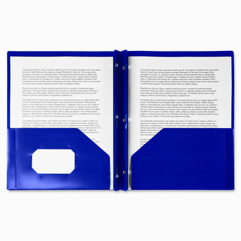 """Winnable 2 Pocket Poly Report Cover - Letter - 8 1/2"""" Width x 11 1/2"""" Length Sheet Size - 3 Fastener - 2 Pockets - Poly - Dark Blue - 1 / Each"""