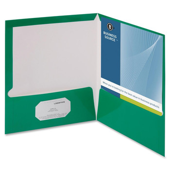 """Business Source Two-Pocket Folders with Business Card Holder - Letter - 8 1/2"""" Width x 11"""" Length Sheet Size - 100 Sheet Capacity - 2 Pockets - Card Paper - Green - 25 / Box"""