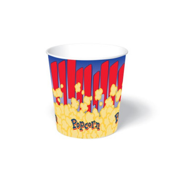 International Paper - SFR-130 - 130 oz Popcorn Paper Bucket, Popcorn Design - 300/cs