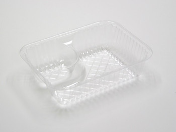 """Pactiv - YCI880620000 - 6-1/2"""" X 5"""" X 1-3/4"""", 2 Compartment Small Nacho Tray, Clear - 500/Case"""