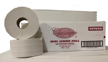 "Classique - 127024 - 2.4"" Core Mini Jrt Jumbo Roll Tissue, 2Ply - 12 Rolls"