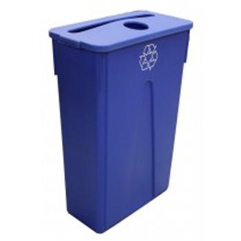 Dynapak - 23 Gallon Blue - Dyna Slim Trash Bin With Paper And Bottle Slot - 1 Set/Pack