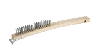 "Winco - BR-319 - 3X19 Rows Of Wire 14"" Length, Steel Bristle Wood Handle - 1/Each"