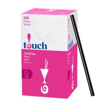 "Touch - 92-865 - 6"" Jumbo Cocktail Straw Black - 9x250"