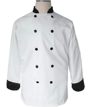 CI12139 Large - Bodyguard White with Black Trim Chef Coat Large Size - Each
