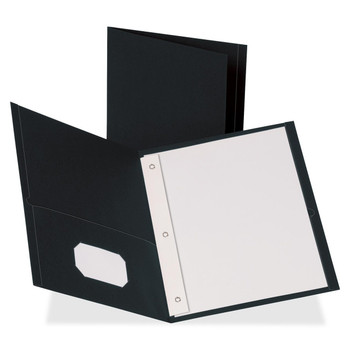 "Business Source Two Pocket Folder - Letter - 8 1/2"" Width x 11"" Length Sheet Size - 100 Sheet Capacity - 3 x Prong Fastener - 2 Pockets - Leatherette - Black - 25 / Box"
