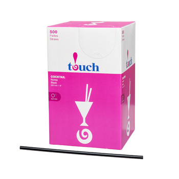 "Touch - 92-825 - 8"" Super Cocktail Straw Black - 9x500"