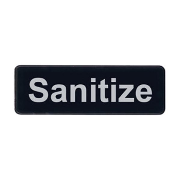 """Winco SGN-329 Sanitize Sign - Black and White, 9"""" x 3"""""""