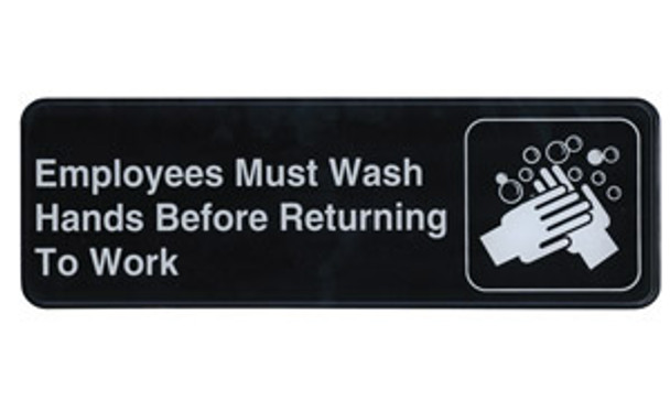 """Winco - SGN-322 - 3""""X9"""" Employee Must Wash Hands Sign - 1 Unit/Each"""