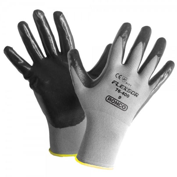 Ronco - 76-400-08 - Medium Flexsor™ 76-400 Nitrile Palm Coated Nylon Gloves - 12 Pair/Pack