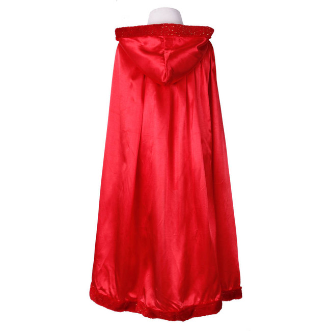 Child's Red Cape with Hood Down Back view