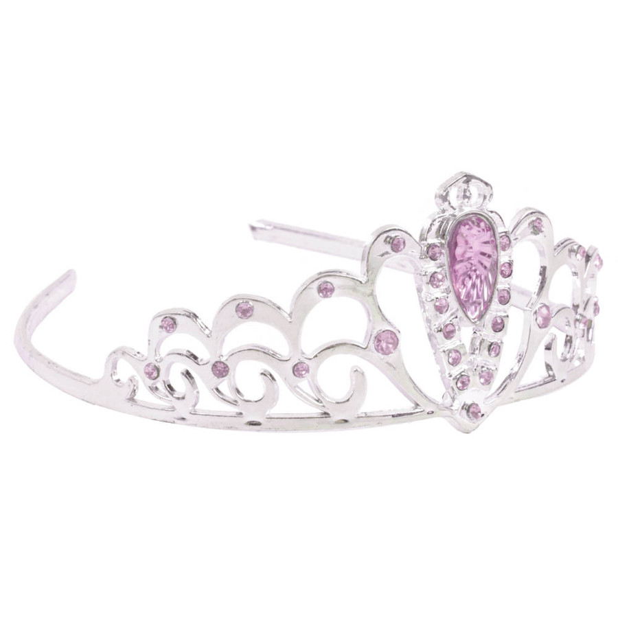 Silver Tiara adorned with Pink Rhinestones Side
