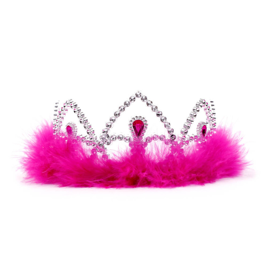 Silver Princes Tiara Crown with Dark Pink Feathers Front View