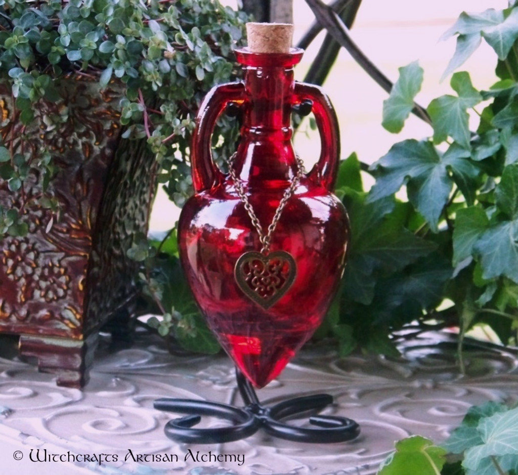 LOVE SPELL Scarlet Red Amphora w/ Stand, Optional Bronze Heart Adornment