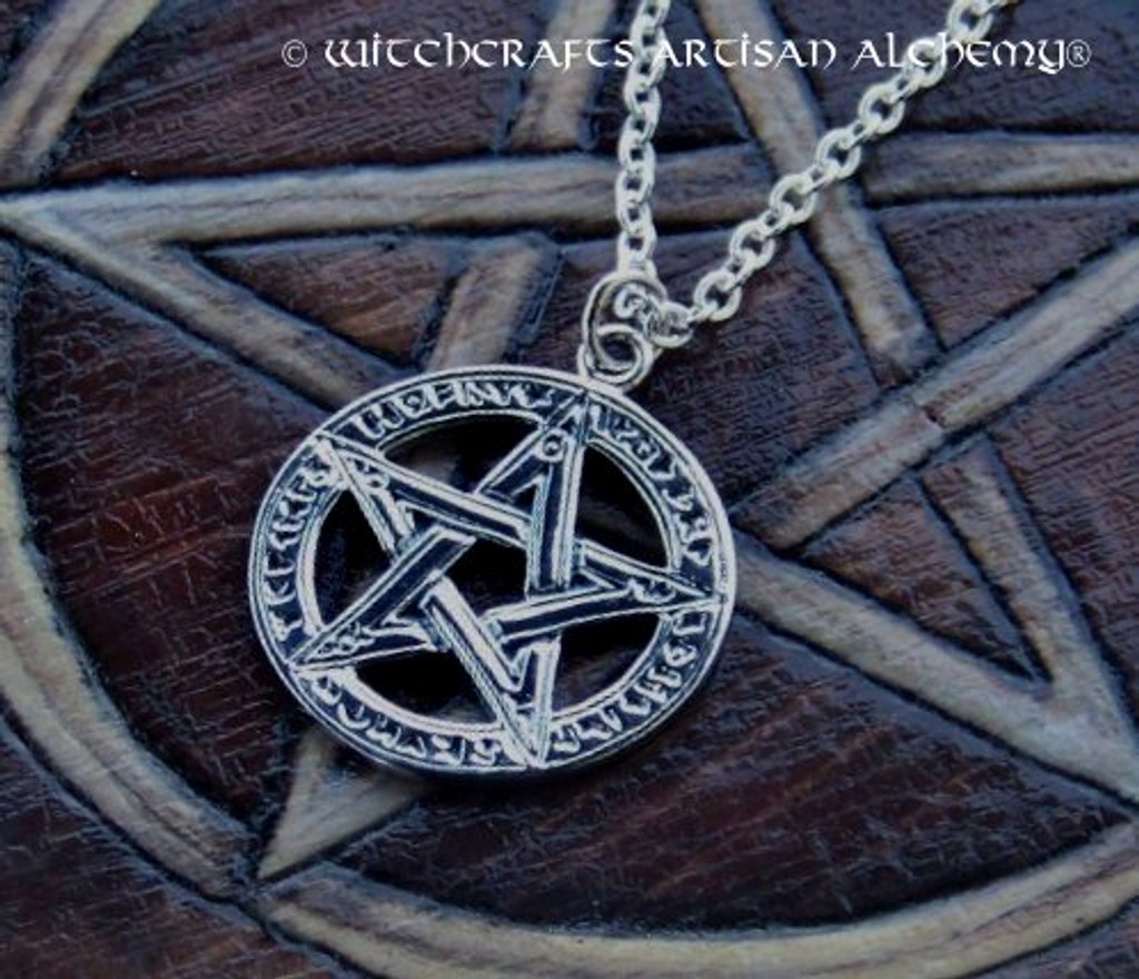 Sterling Silver RUNE PENTACLE Pendant Necklace
