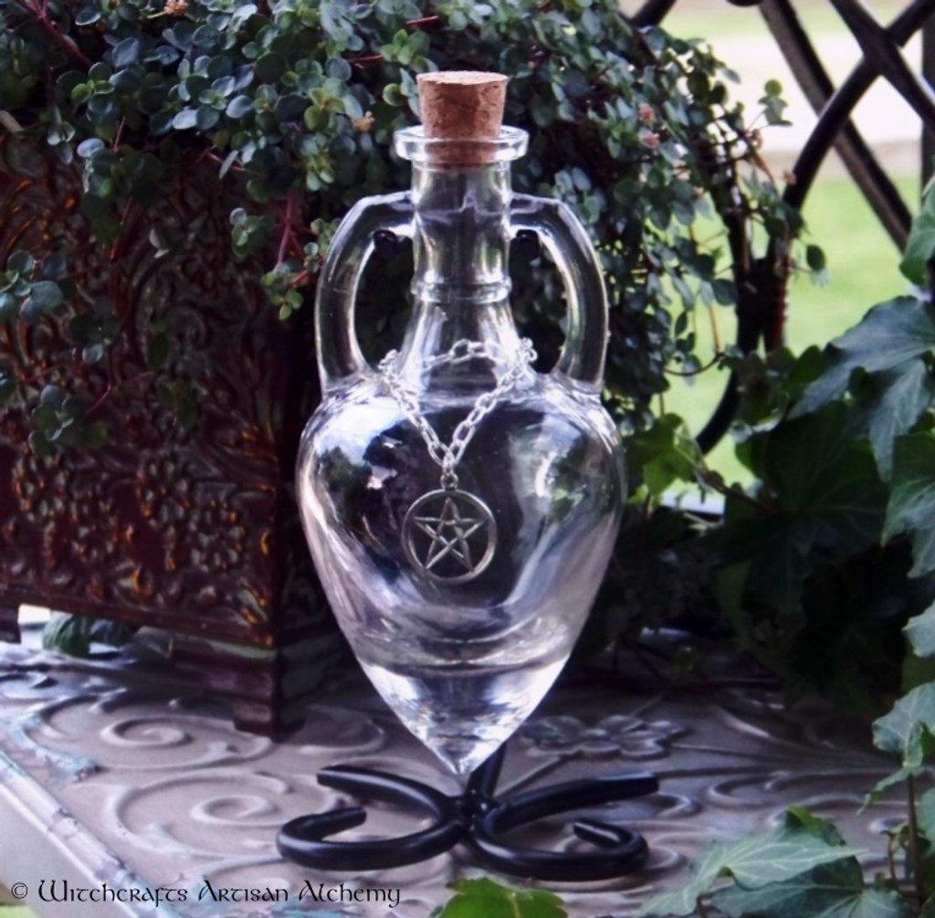 CRYSTAL VISIONS Clear Amphora w/ Stand, Optional Silver Pewter Pentacle Adornment