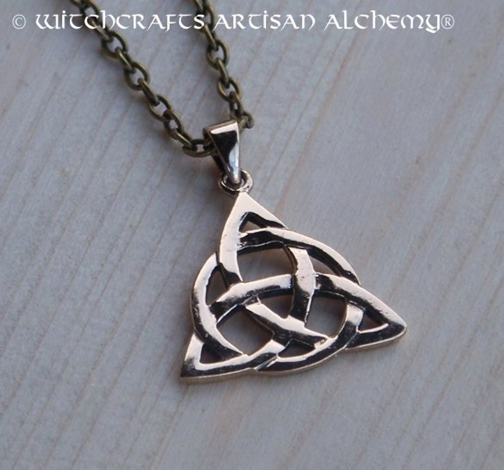 CELTIC ETERNITY TRIQUETRA Solid Bronze Pendant Necklace