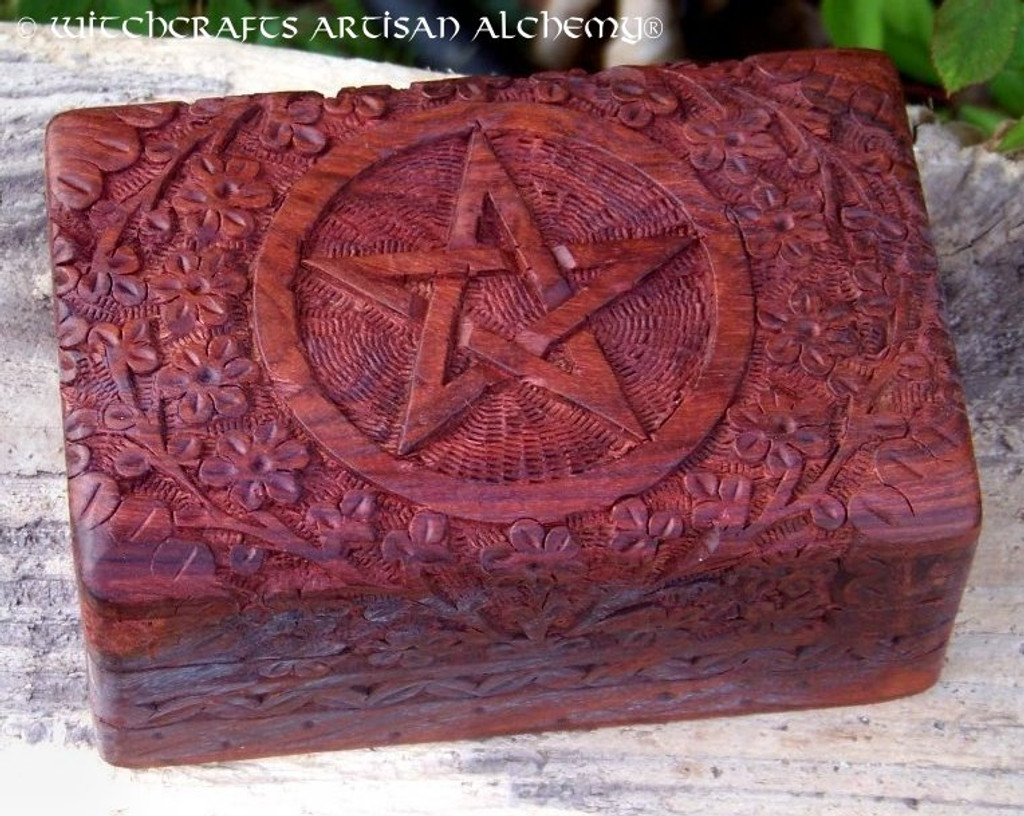 PENTACLE Carved Floral Wooden Box