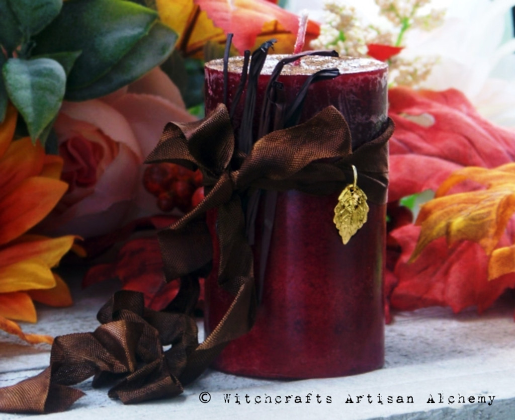 """HARVEST HOME """"Old European Witchcraft"""" Pillar Candle"""