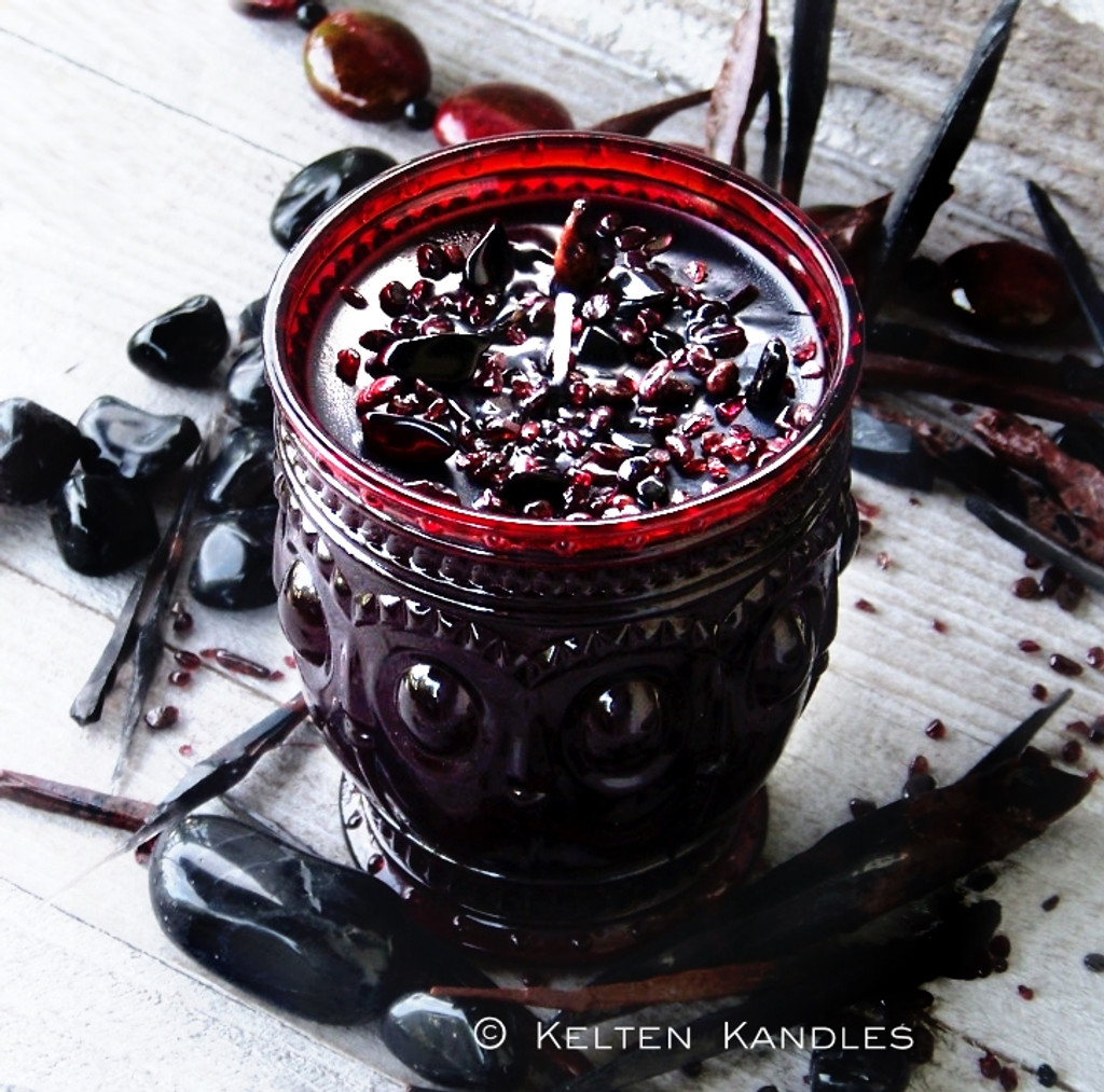 """MORRIGAN Coco Apricot Crème Luxury Wax """"Heirloom Heritage"""" Ruby Red Glass Container Candle"""