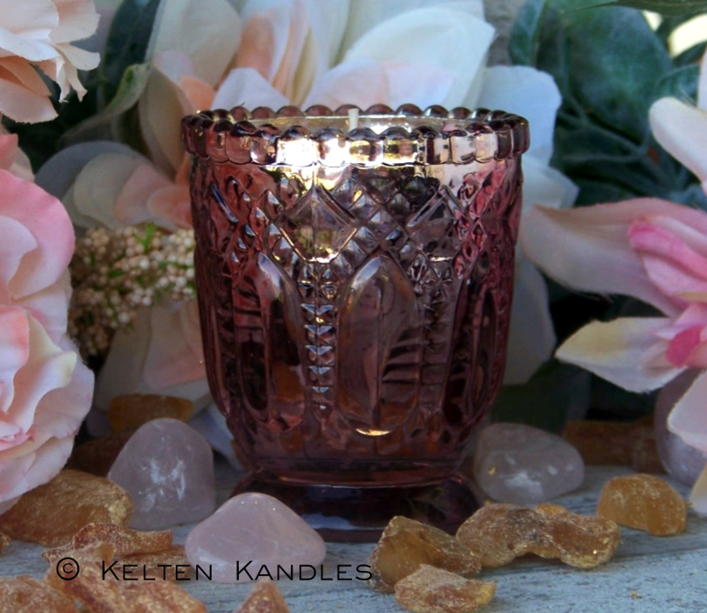 """FREYJA 24K Gold Coco Apricot Crème Luxury Wax """"Heirloom Heritage"""" Mercury Glass Container Candle"""