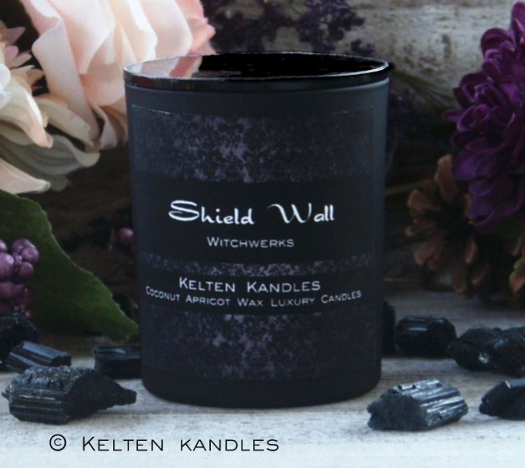 """SHIELD WALL """"Witchwerks"""" Coco Apricot Crème Luxury Wax Matte Black Glass Container Candle"""
