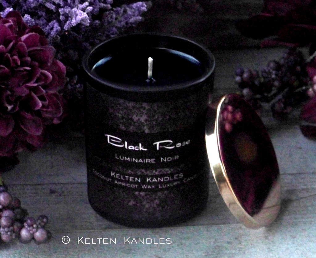 "BLACK ROSE ""Luminaire Noir"" Coco Apricot Crème Luxury Wax Matte Black Glass Container Candle"
