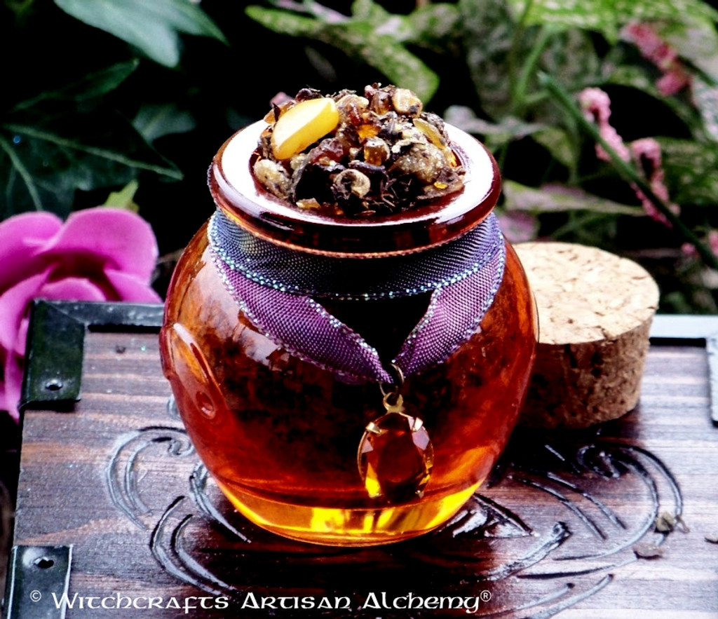 ANCIENT AMBER PATCHOULI Gemstone Resin Incense Honey Pot