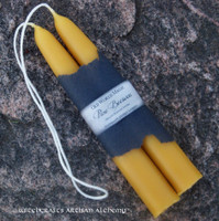 """ORGANIC BEESWAX Thick 1"""" Hand Dipped Old World Taper Candles"""