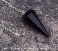 Black Obsidian Faceted Pendulum Point