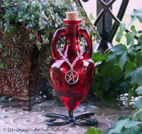 POWER Blood Red Amphora w/ Stand, Optional Silver Pewter Pentacle Adornment